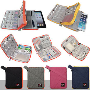 Travel Carry Case for iPad Tablet Cable Earphone Power Charger USB Organizer Bag