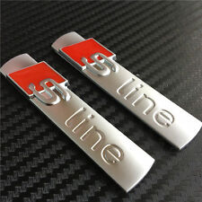 2x OEM S Line Sport Alloy Matt Silver Chrome Sticker Emblem Badge Decal For AUDI