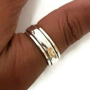 Solid 925 Sterling Spinner Silver Ring Handmade Ring Worry Ring All Size AM-460