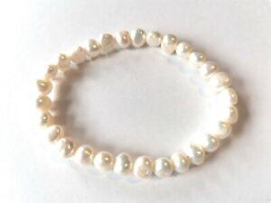 Cultured Freshwater Pearl Elasticated Bracelet, Cream - used