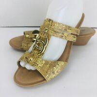 Dexflex Comfort Wedge Sandal Gold Rings Tan Sandal Cork Look Shoe Size 9 M