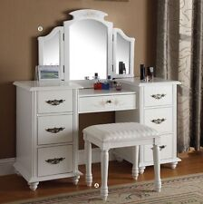 White Vanity Dressing Table Set W/ Mirror