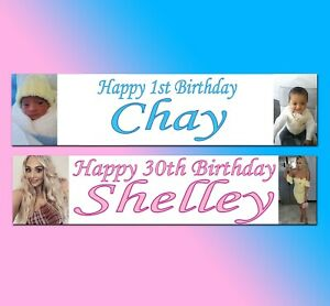 2 Personalised Photo banners birthday Christening party all Occasions any colour