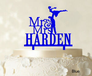 Personalized Mr & Mrs Couple Cake Topper Personalized Blue Cake-iRD