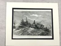 1875 Print Lincolnshire Newark Railway Train Crash Wreck Antique Original