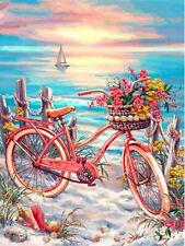 Bicycle Seascape Sail Boat Full drill Diamond Painting Fashion Room Decor E7498