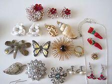 Lg Lot Glass Rhinestone Brooch Pin Earrings Sets Sarah Cov Shell Red Hat Repair