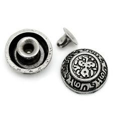 30 Set Antik Silber Nieten Ziernieten Schmucknieten 12mmx4mm 6mmx5mm B25594