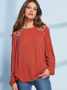Together Size 10 Terracotta Crinkle Embroidered Embellished TOP Casual £46