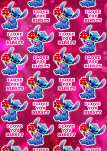 Disney Stitch Personalised Valentines Day Gift Wrap - Stitch Wrapping Paper - D2