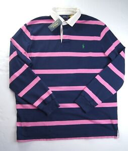 POLO RALPH LAUREN Men's Classic Fit Navy/Pink Iconic Rugby Shirt NEW NWT