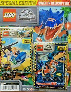 2021 Lego Jurassic World Magazine #13 Owens Helicopter + Baby Dinosaur & T-Rex