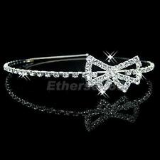 Bridal Tiara Flower Girl Crystal Diamante Bowknot Wedding Headband Supplies