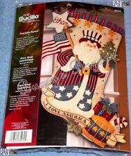 Bucilla PATRIOTIC SANTA Stocking Felt Applique Christmas Kit - USA - 85430