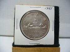 1951  CANADA  SILVER DOLLAR  COIN   NICE GRADE ONE   1$  SEE PHOTOS   51