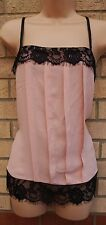 DOROTHY PERKINS DUSTY PINK LACE TRIM STRAPPY TUNIC CAMI BLOUSE TOP VEST 10 S