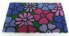"Lovely Blue Floral Pattern Multi Color Outdoor Coir mat 18"" x 30"""
