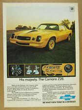 1978 chevy Camaro Z28 yellow car photo chevrolet vintage print Ad
