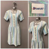Vintage Damart Blue Mix Cotton Stripe Retro Dress UK 12 EUR 40 US 8