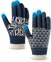 Winter Gloves Touch Screen Warm Knit Gloves, Soft Wool Lining Elas (Blue,Size:L)
