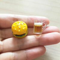Miniature Dollhouse Kitchen Bakery Food Hamburger + Beer Drink Cup Beverage Mug