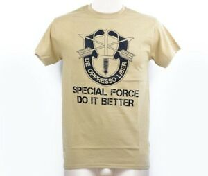 US Army 10th Special Forces SF Grp DE OPPRESSO LIBER Shirt tshirt Sand Gr XXL