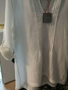 CYNTHIA ROWLEY DESIGNER WHITE LINEN TUNIC WITH PIN TUCK DETAIL SIZE XL