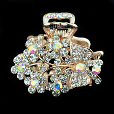 white clamp jewelry rhinestone hair barrette flower clip crystal comb claws free