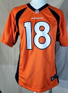 NFL Nike Orange Navy Women's Denver Broncos Manning V-Neck Jersey Sz LG SS