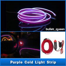 1M Purple EL Wire Car Interior 12V Decor Fluorescent Neon Strip Cold light Tape