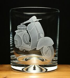 Vespa scooter motorcycle bike engraved glass tumbler gift present