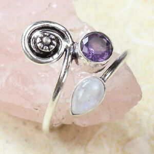 Moonstone & Amethyst 925 Silver Plated Handmade Ring of US Size 9.5 Ethnic Gift