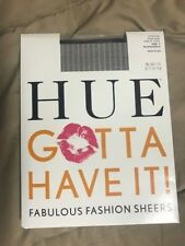 NWT HUE Gotta Have It! Fabulous Fashion Sheers pantyhose sz 1 Black/Gold lurex
