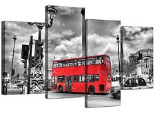 City London Canvas Prints of Red Bus in Black & White for Living Room Cityscape