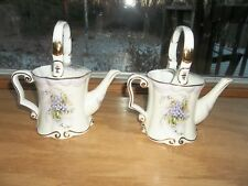New Burton & Burton Bogart Ga. China 2 Pitchers Purple Flowers