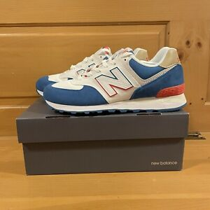 New Balance Men's 574 ML574SCF White Blue and Red Shoes Size 8
