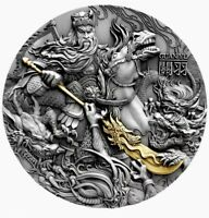 Niue GUAN YU CHINESE HEROES Silver Coin $5 Antique finish 2019 Gold plated 2 oz