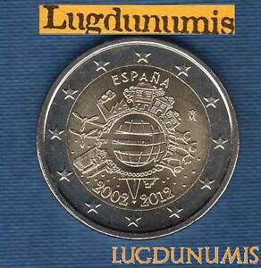 2 euro Commémo - Espagne 2012 10 Ans de L'Euro Spain