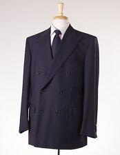 NWT $3995 D'AVENZA Navy-Orange-Blue Fine Stripe Super 130s Wool Suit 42 R