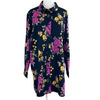 Jessica London Womens Floral Long Sleeve Button Front Top Black Plus Size 28W