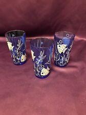 3 Vintage Retro Hazel Atlas Cobalt Blue Fish Sea Life Drinking Glass Barware Bar
