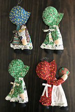 4 Vintage Christmas Holly Hobbie Cloth Doll Holiday Ornaments 6 1/2�
