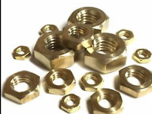 SOLID BRASS FULL HEXAGON NUTS FOR BOLTS & SCREWS M2,2.5,3,4,5,6,8,10,12