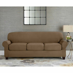 Sure Fit faux stretch Suede taupe Sofa Slipcover 3 cushion universal t or box