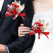 Bridal Bracelet Hand Flower Wrist Corsage Groom Boutonniere Wedding Decor LH