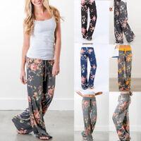 2018 Ladies Floral Soft Yoga Sport Gym Wide Leg Casual Loose Long Pants Trousers