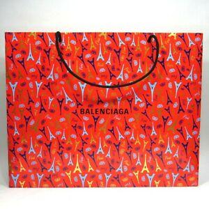"""BALENCIAGA Eiffel Tower Print Shopping Bag Red Dimensions 17 1/2"""" x 14"""" x 6"""""""