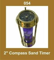 New Vintage Brass 2'' Compass Sand Timer Hour Glass Nautical