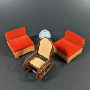 Vtg Tomy Dollhouse Furniture Living Room Chairs Sofa Section Lamp Smaller Home