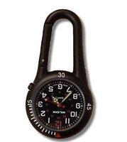 Black Clip on Carabiner FOB Watch Black Face for Doctors Nurses Paramedics Chefs